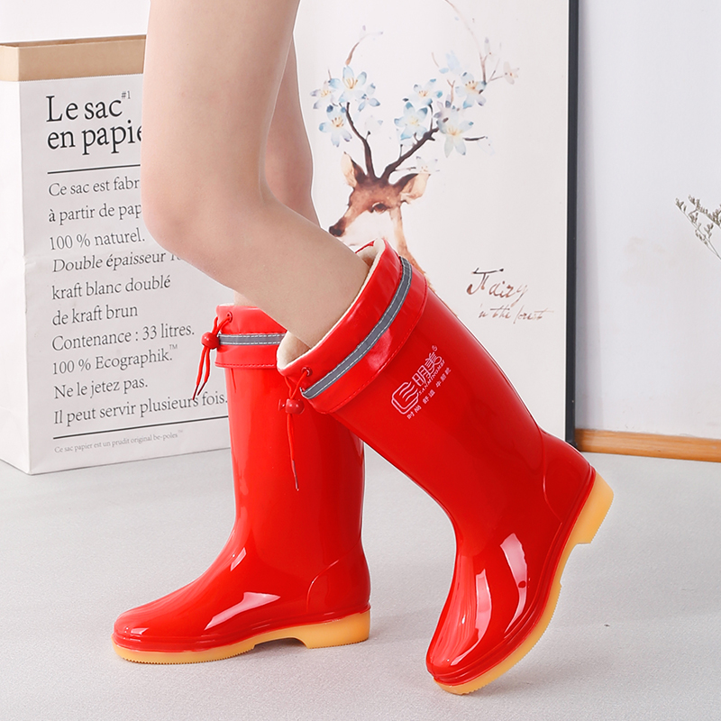 Rain shoes female cowhide low medium tube water boots high tube rain boots with cotton for warm work