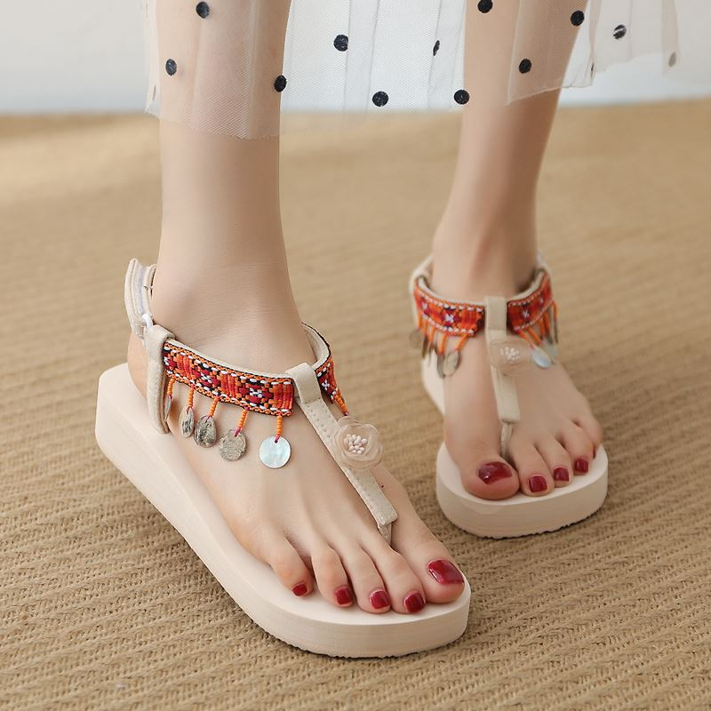 Sunny color Bohemian toe sandals womens summer versatile fashion fairy flower tassel sandals