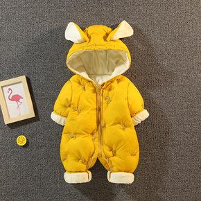 新生婴儿儿衣服秋冬装连体衣宝宝外出服抱棉衣冬季女幼儿加厚套装