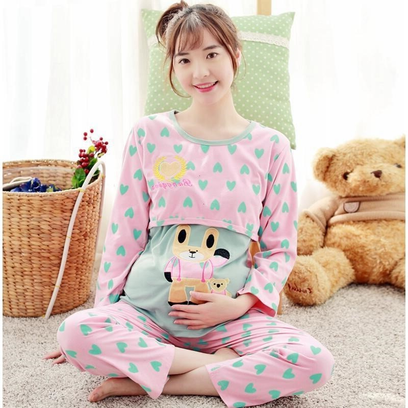Confinement clothing spring and autumn pure high quality cotton long sleeve pregnant womens pajamas maternal breast-feeding clothing large size home suit