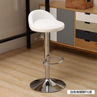 小吃店白色吧台凳子高脚凳升降奶茶店发廊风格收银复古折叠高脚椅