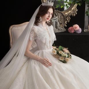 森系新娘梦幻超仙拖尾孕妇高腰遮孕肚婚纱 春季 星空主婚纱2020新款