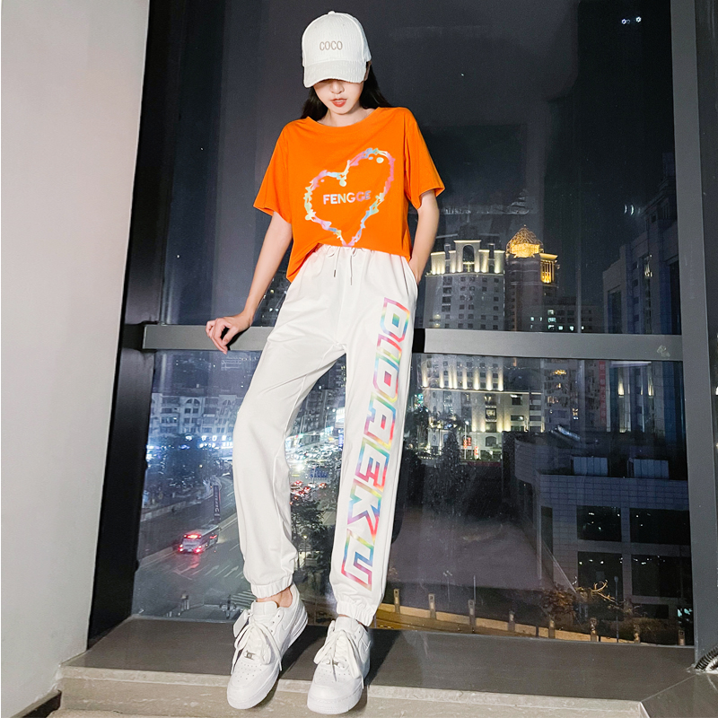 Summer sports suit 2021 Yang Liping slim fit Korean version square dance shuffle dance short sleeve mens and womens two-piece set
