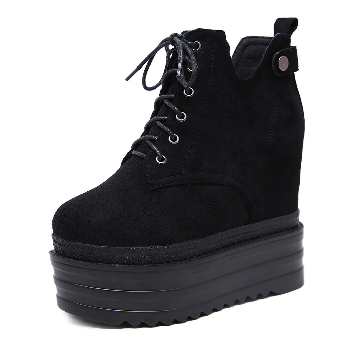 内增高12厘米超高跟鞋绒面百搭系带马丁靴坡跟短靴厚底松糕裸靴女
