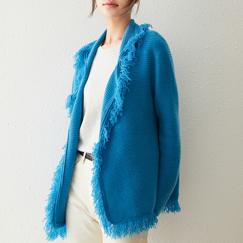 New fashion tassel wool cashmere cardigan 100 pure cashmere long sleeve sweater thickened V-neck pin cardigan jacket