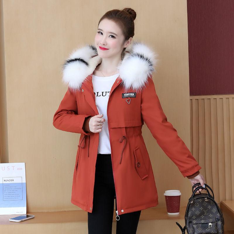 派克服2020棉衣女冬季韩版大毛领棉袄中长款显瘦加绒加厚加