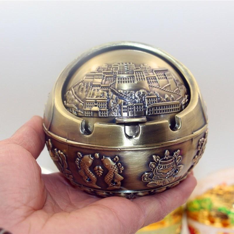 特色西藏纪念品家居装饰品灰缸车内摆件家用车用布宫灰罐
