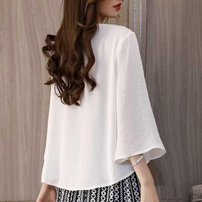 Chiffon shawl womens thin short cardigan fashionable outside with loose air conditioning shirt in spring and summer and small coat sunscreen