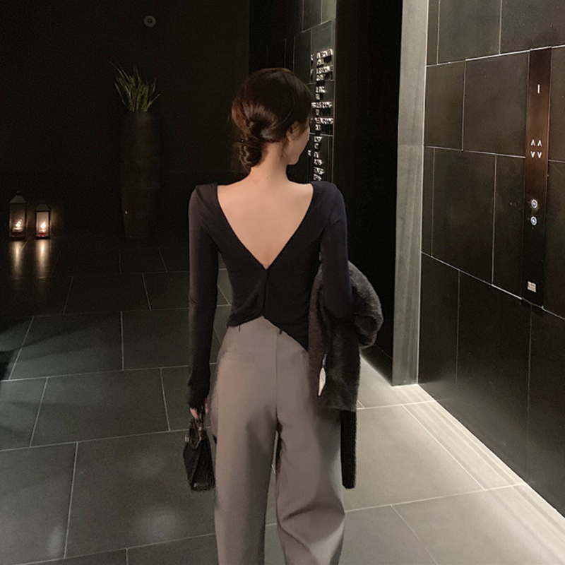 打底衫女T恤修身2019秋季新款蝴蝶背设计感chic小众性感露背上衣
