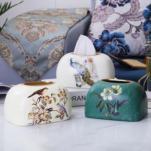 摆件客厅纸餐巾创意陶瓷餐桌纸巾盒