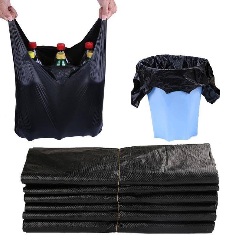 手提式垃圾袋加大背心式塑料袋加厚家用厨房酒店黑色垃圾袋,可领取1元天猫优惠券