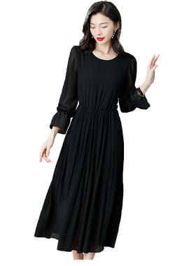品哥弟新女装专柜正品收腰显瘦黑色连衣裙2021夏季气质雪纺长裙子