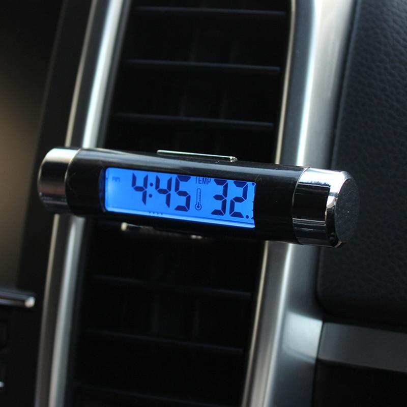 汽车用车内高精度电子数字出风口温度计时间显示器夜光车载时钟表