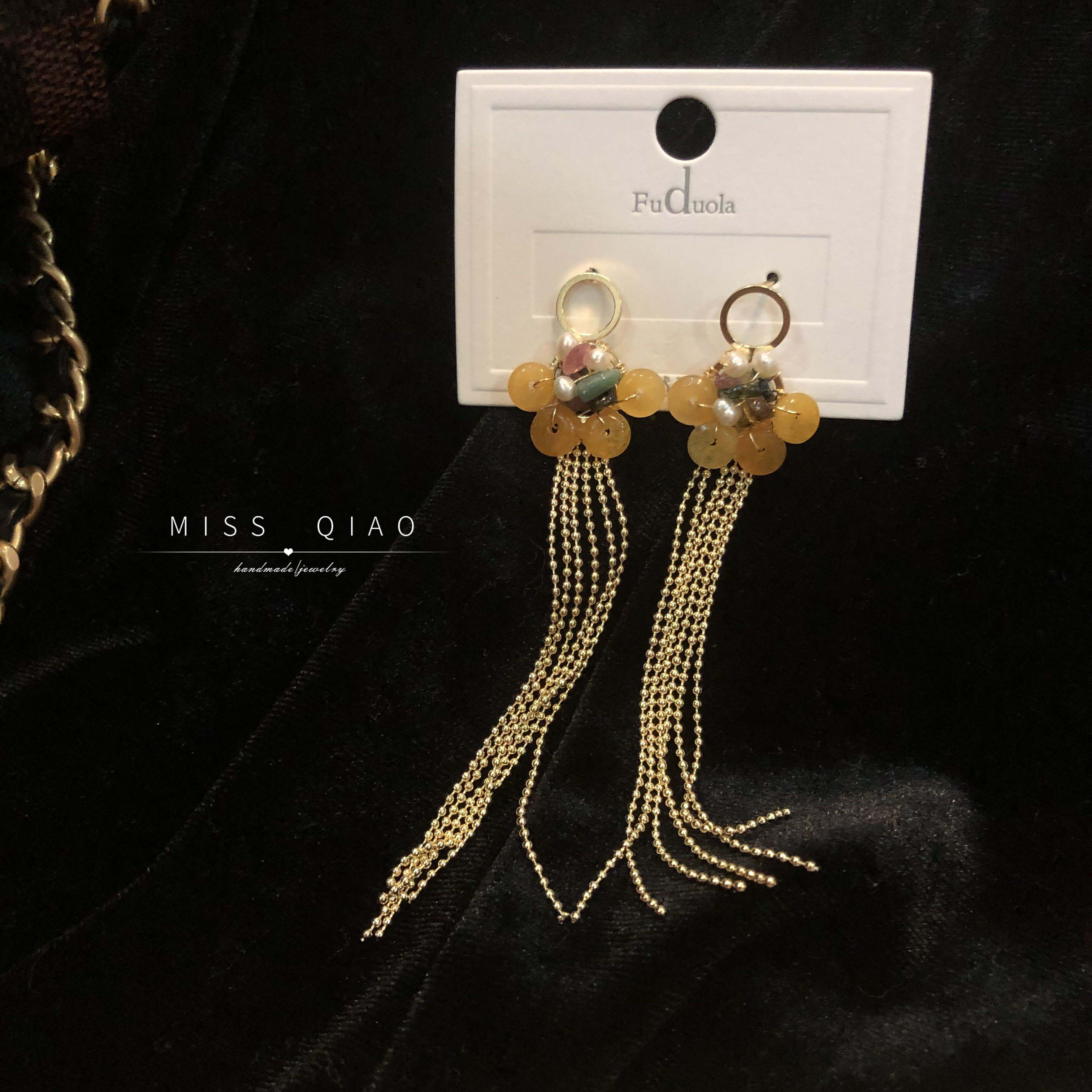 S925 silver imitation allergy safety clasp Topaz tourmaline pearl pendant fairy long chain Tassel Earrings European and American style