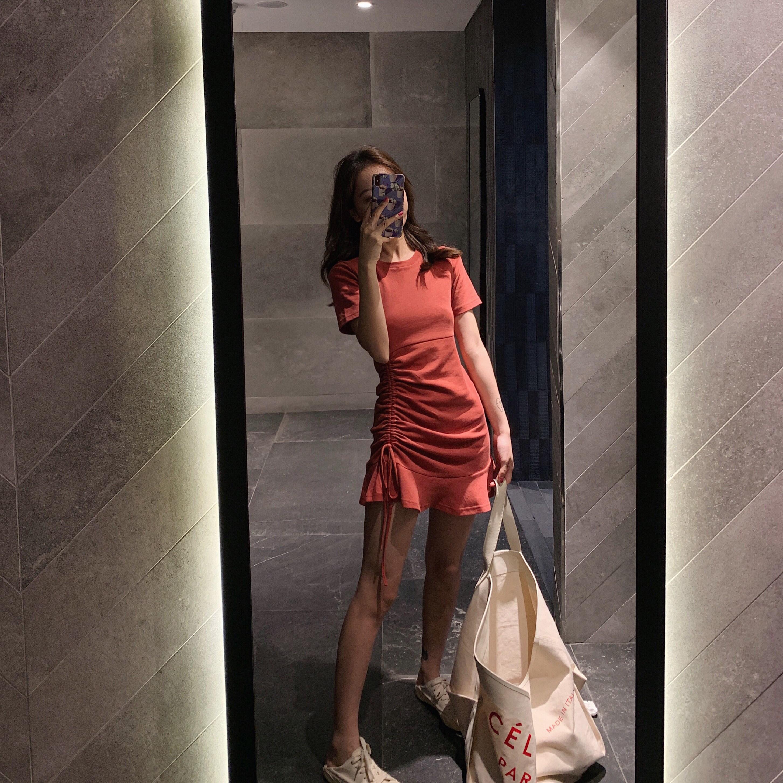 钱夫人修身短袖小个子连衣裙新款抽绳t恤裙荷叶边短裙子9046-P69
