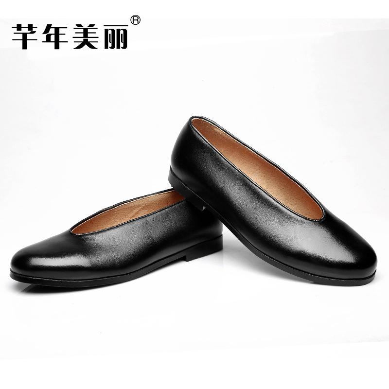 圆口皮鞋男真皮老北京老头中老年人罗汉禅鞋女夏季僧鞋和尚鞋禅意