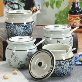 冲钻 大号陶瓷家用厨房用品带盖调味罐盐罐辣椒油罐调料盒猪油壶
