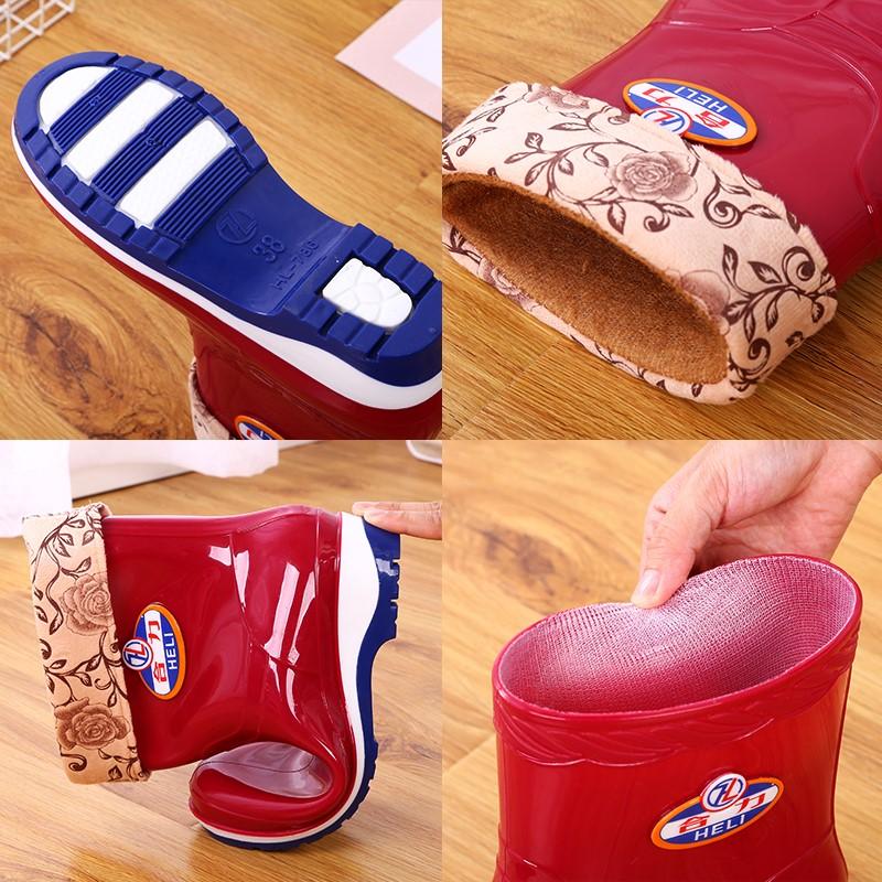 短筒雨鞋女士防滑耐磨水鞋加绒保暖水靴舒适防水胶鞋劳保中筒雨靴