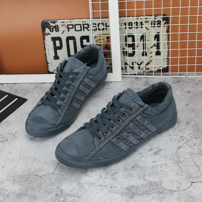 Win canvas shoes step by step mens low top soft bottom washed denim shoes fashion casual shoes win mens shoes step by step bby