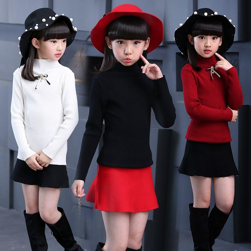 2020秋冬新款女童高低领毛衣打底衫儿童套头翻领毛衣