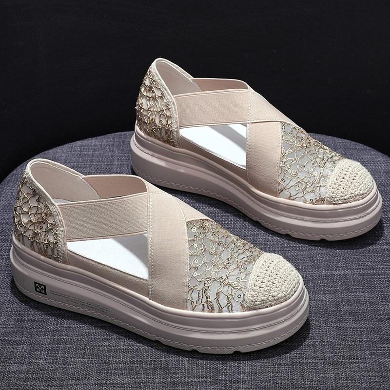 包头凉鞋渔夫鞋女厚底增高松糕凉鞋百搭透气蕾丝网面一脚蹬乐福鞋