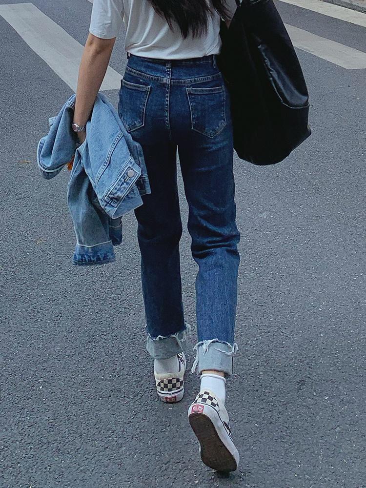 老板很爱笑 深蓝色翻边牛仔裤女夏季2021复古卷边高腰 直筒裤女夏