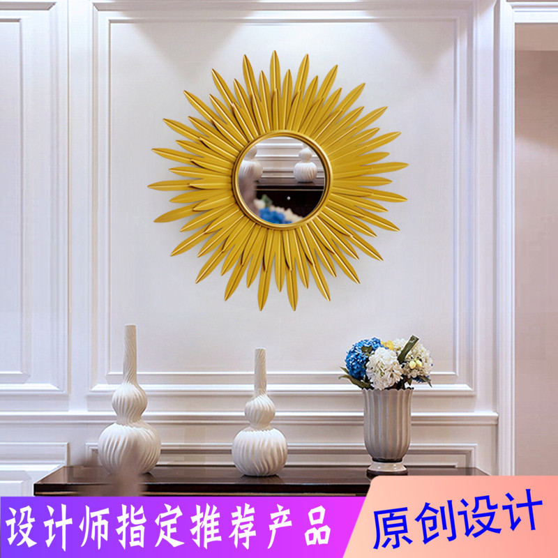 Living room, porch, sofa, background wall, art model room, Sun decorative mirror, European wall, creative light luxury wall hanging