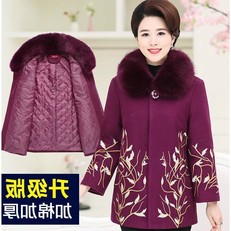 Middle aged and elderly womens clothes autumn and winter wool coat thickened with wood and silk mothers embroidered woolen coat for the elderly