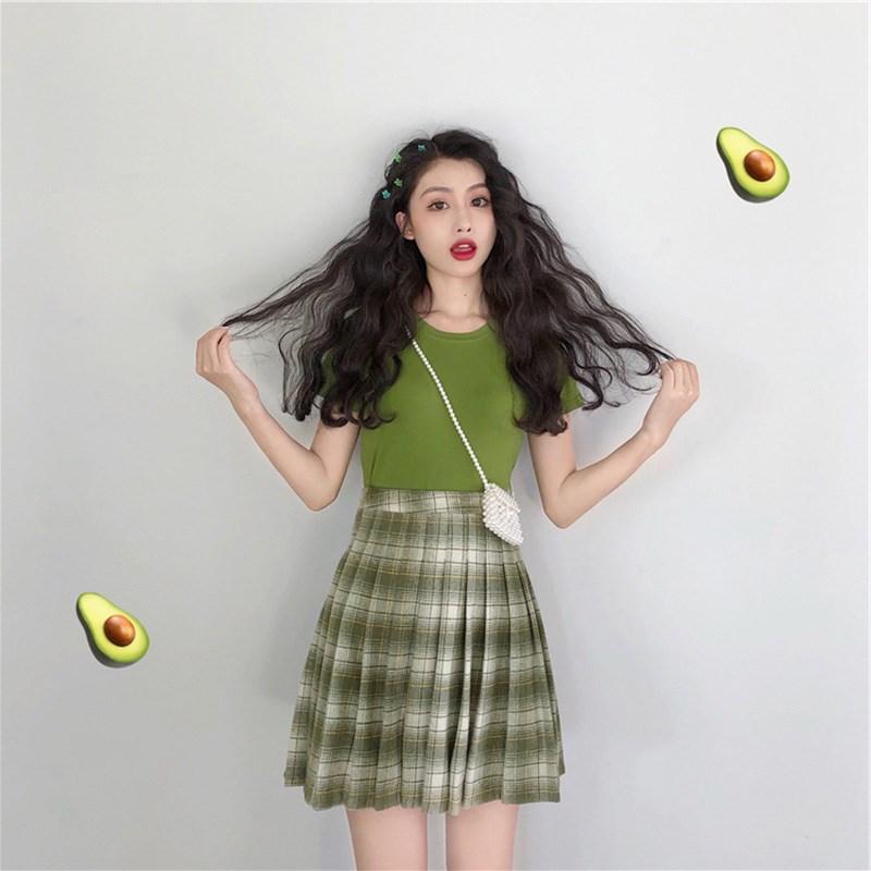 券后117.30元2019新款夏裙子森系超仙女甜美小清新抹茶牛油果绿连衣裙两件套装