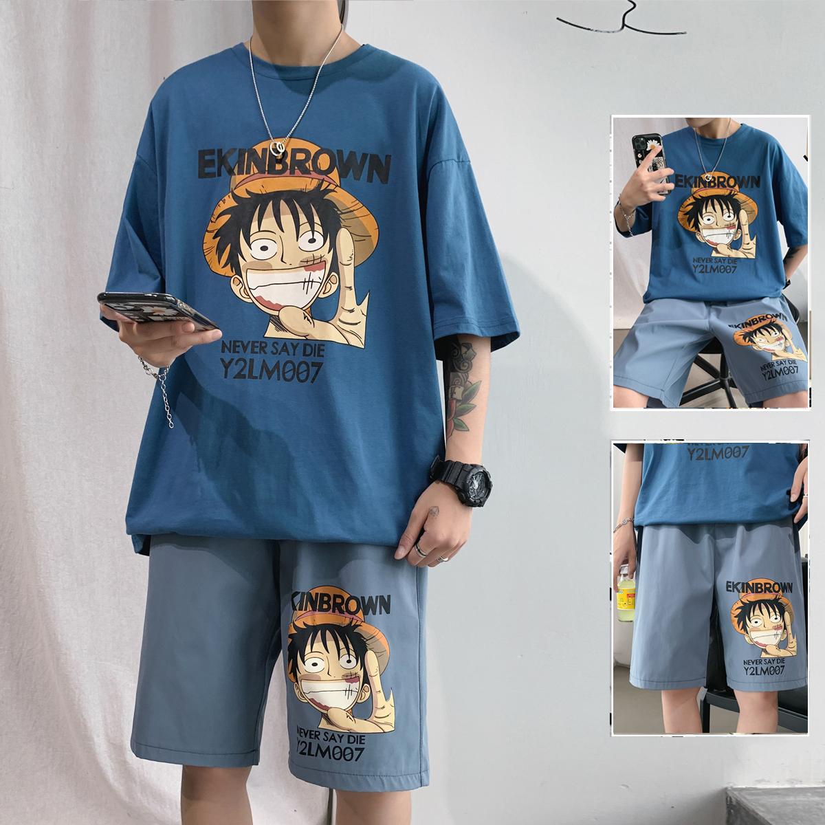 夏季港风宽松短袖t恤套装男青少年初中学生海贼王同款帅气一套潮