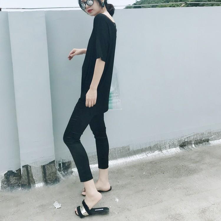 三醋酸黑色缎面裤子女光面夏丝绸打底裤外穿薄款松紧H腰九分小脚