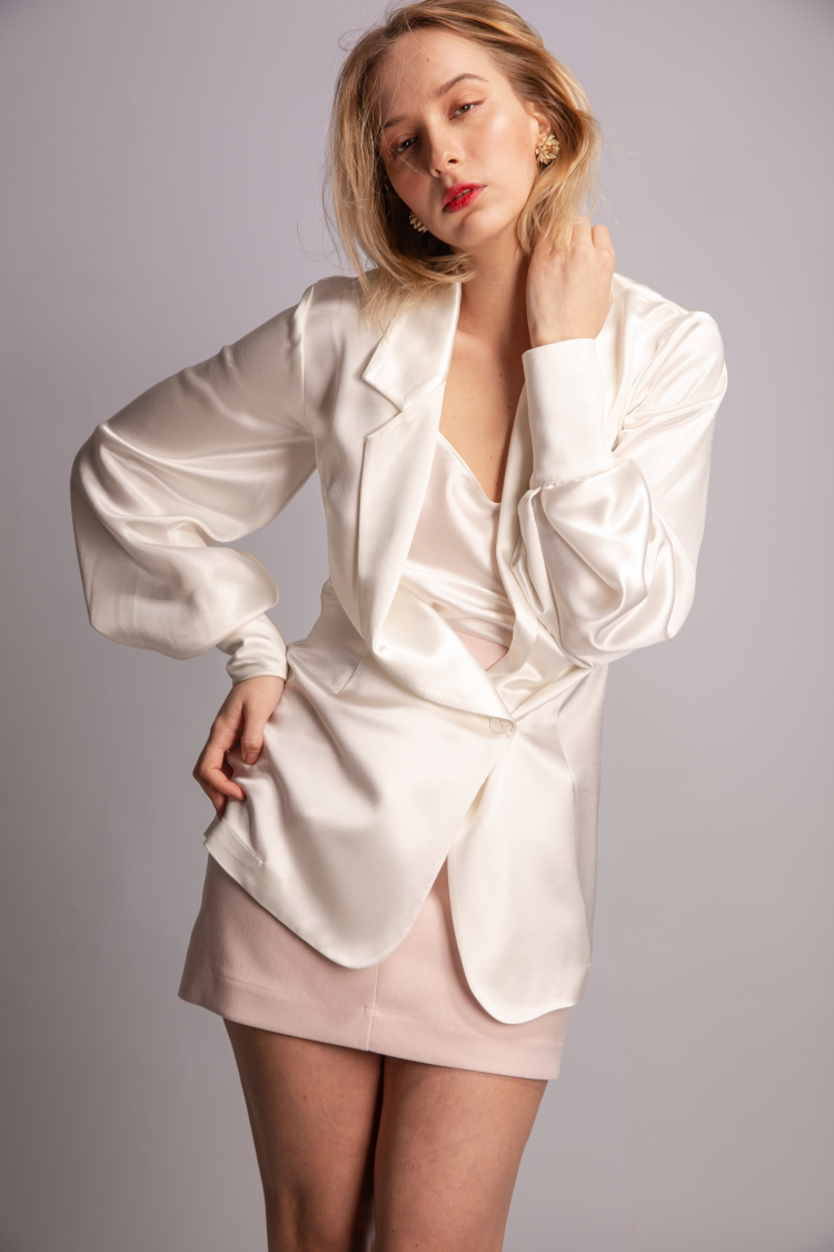 Original design loose acetate Satin Pajamas light cooked French fashion Blazer borderline