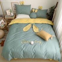 全棉床单四件套纯棉女孩公主风韩式可爱网红款兔子儿童床品三件套