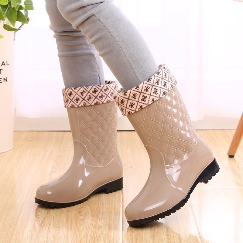 雨鞋洗车工大童靴子大带绒下雨天高中加长皮套女鞋女生中童穿