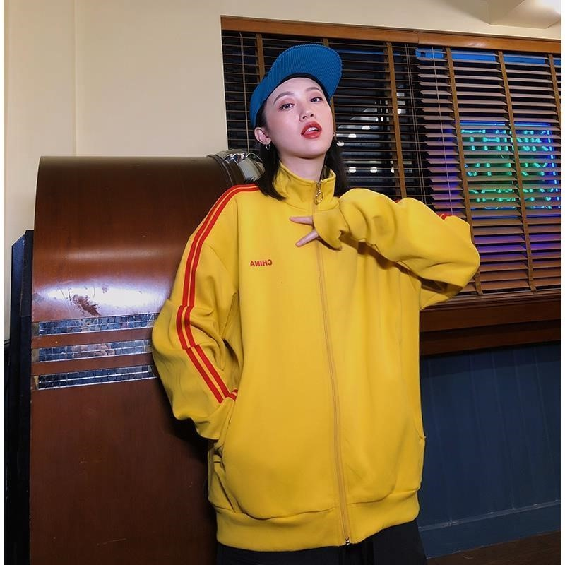 2019 spring and autumn side stripe sportswear girl cardigan loose casual jacket top fashion stand collar jacket women