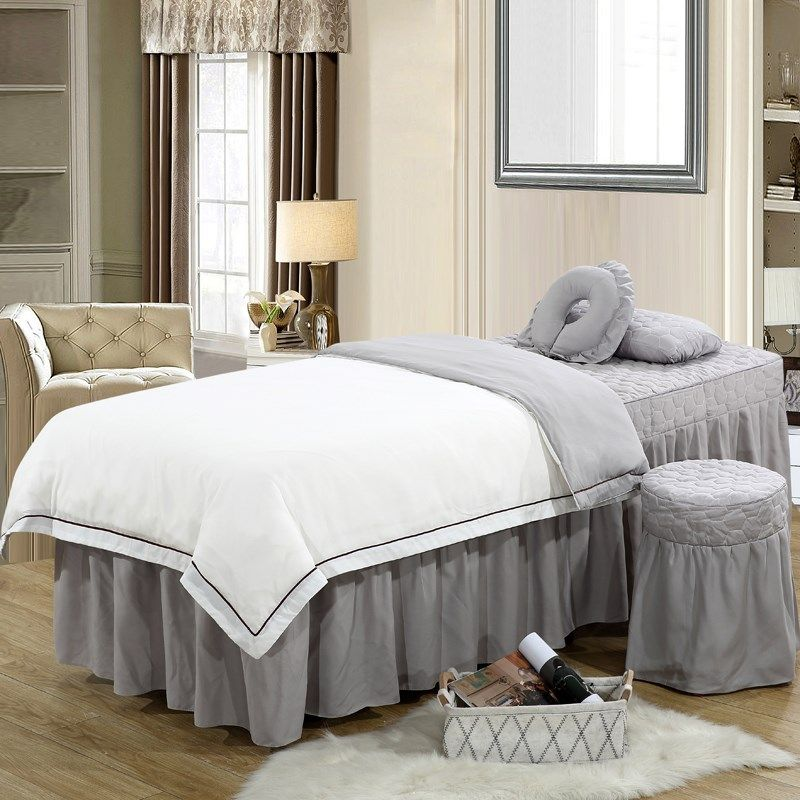 纯色美容床罩四件套简约定做美体按摩理疗美容院床罩四件套韩式