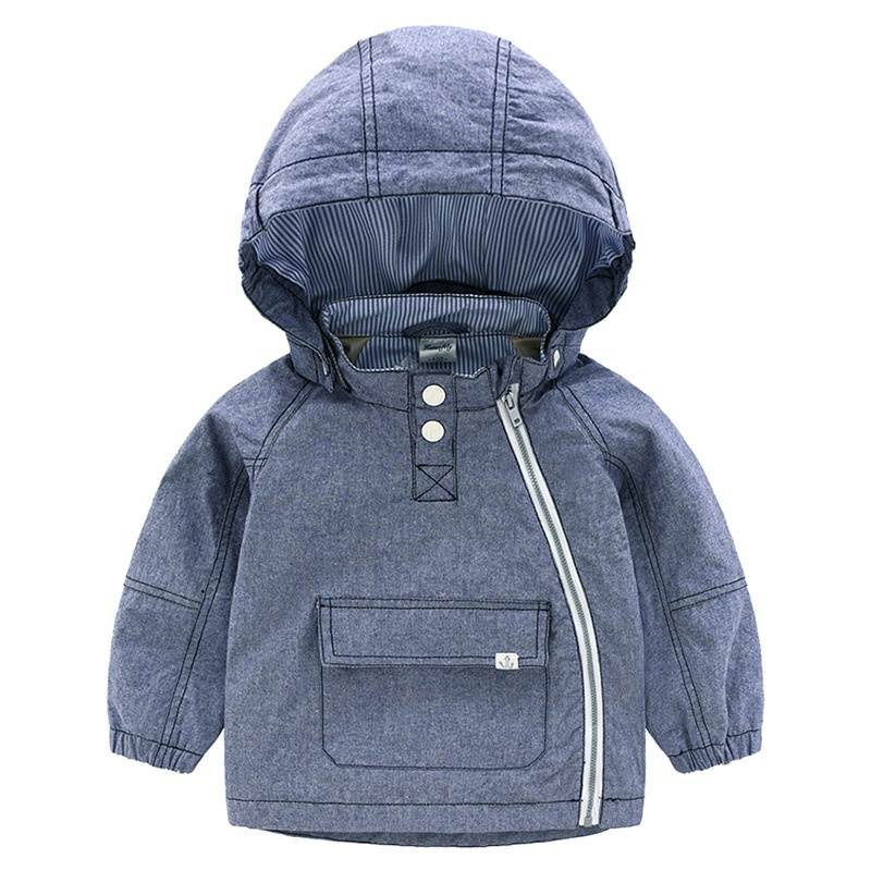 。 Cotton mens 2e021 open hooded spring and autumn full boys windbreaker zip shirt baby 7553 casual coat