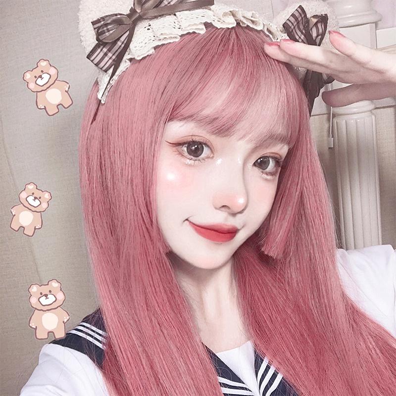 Genuine Manzhen wig womens long hair color headgear natural full head cute fashion JK Lolita net red air