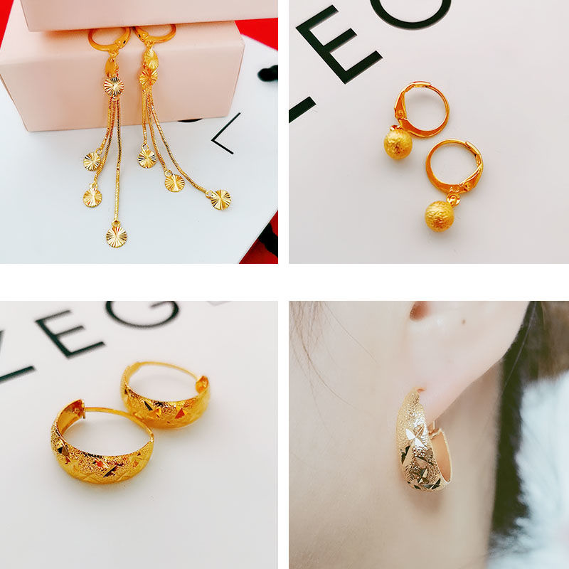Fashion 2018 new fashion imitation gold personalized Earrings female temperament Shajin simple sky star Tassel Earrings