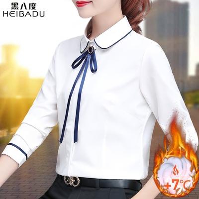 衬衣女设计小众感衬蝴蝶结娃领加绒白色长袖女秋冬复古港味打底衫