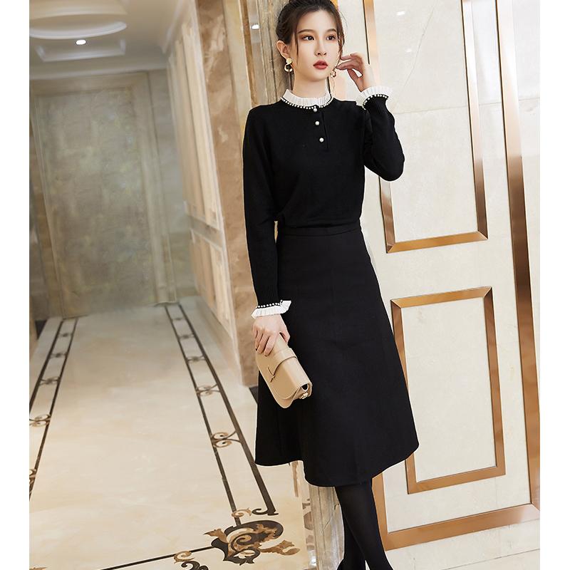 Romantic little spinning little black skirt a-row knitted solid color commuter skirt kangsaini air spinning cashmere wool