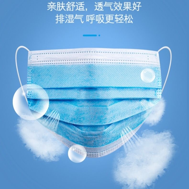 Disposable mask three-layer protection, dustproof and breathable thin summer mens and womens nose and mouth mask blue