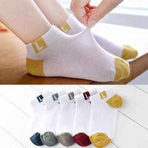 16岁棉袜5双装春夏儿童袜子中筒吸汗男童女童中大学生宝宝0