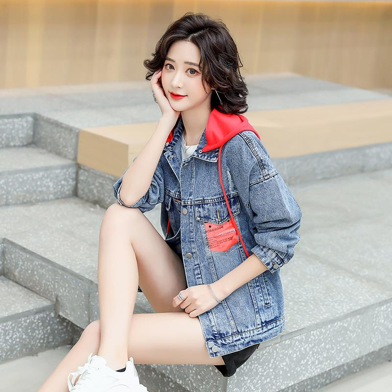 Long sleeve hooded detachable Denim Jacket Womens 2021 spring and autumn new loose small denim jacket
