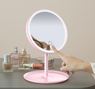 台式led带灯随身便携宿舍女化妆镜