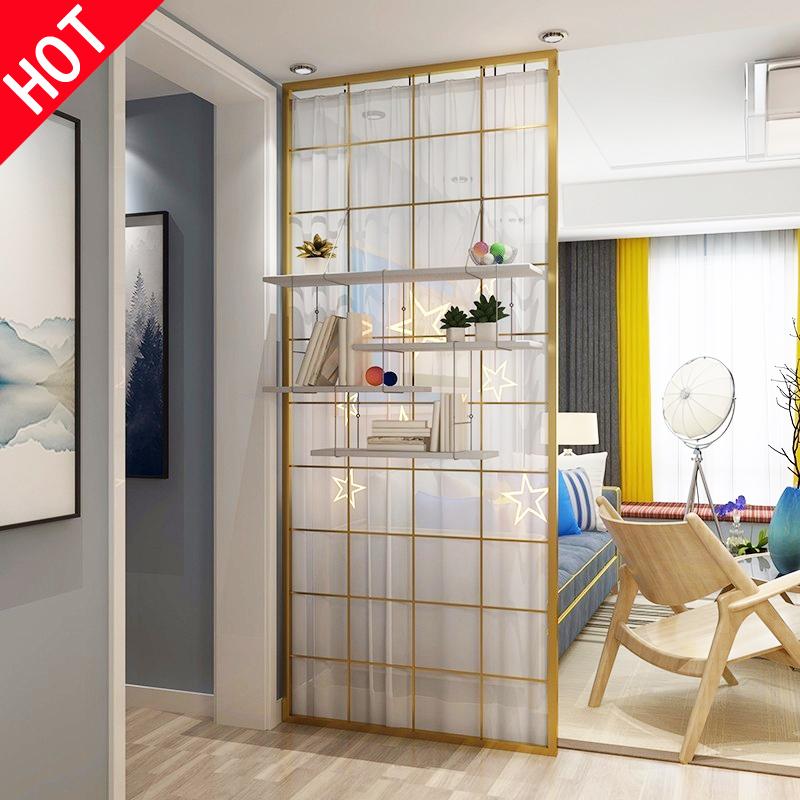 北歐簡約屏風隔斷墻房間臥室客廳入戶餐玄關鏤空裝飾家用鐵藝定制