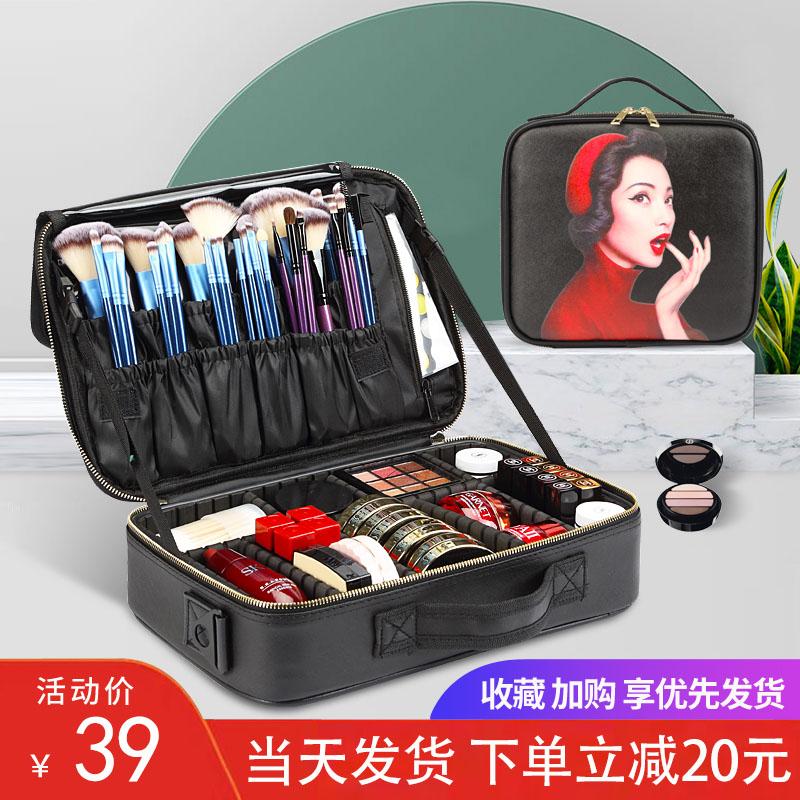 大容量网红ins风化妆包便携手提化妆箱专业跟妆师旅行化妆收纳包
