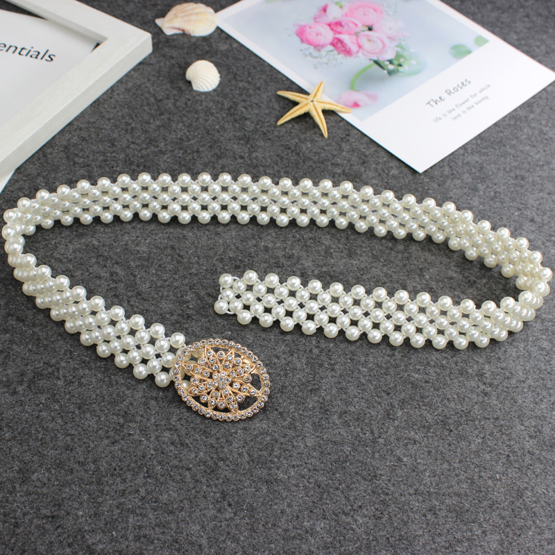 Womens Pearl waist chain fashion jewel decoration dress with elastic, elastic and sweet temperament
