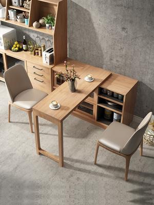 小户型餐桌椅靠墙餐桌极简厨房隔断多功能餐边柜折叠桌纯实木厨柜图片