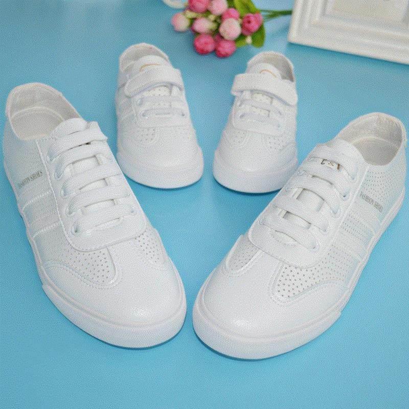 亲子鞋一家三口休闲百搭夏季2017新款母子运动凉鞋母女鞋小白